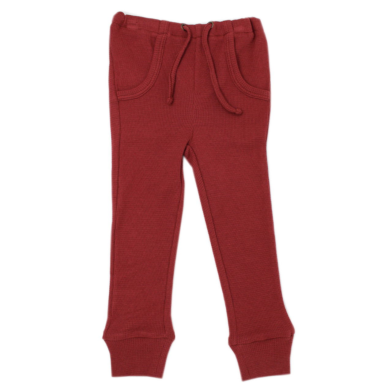 Organic Thermal Kids' Jogger Pants in Brick, Flat