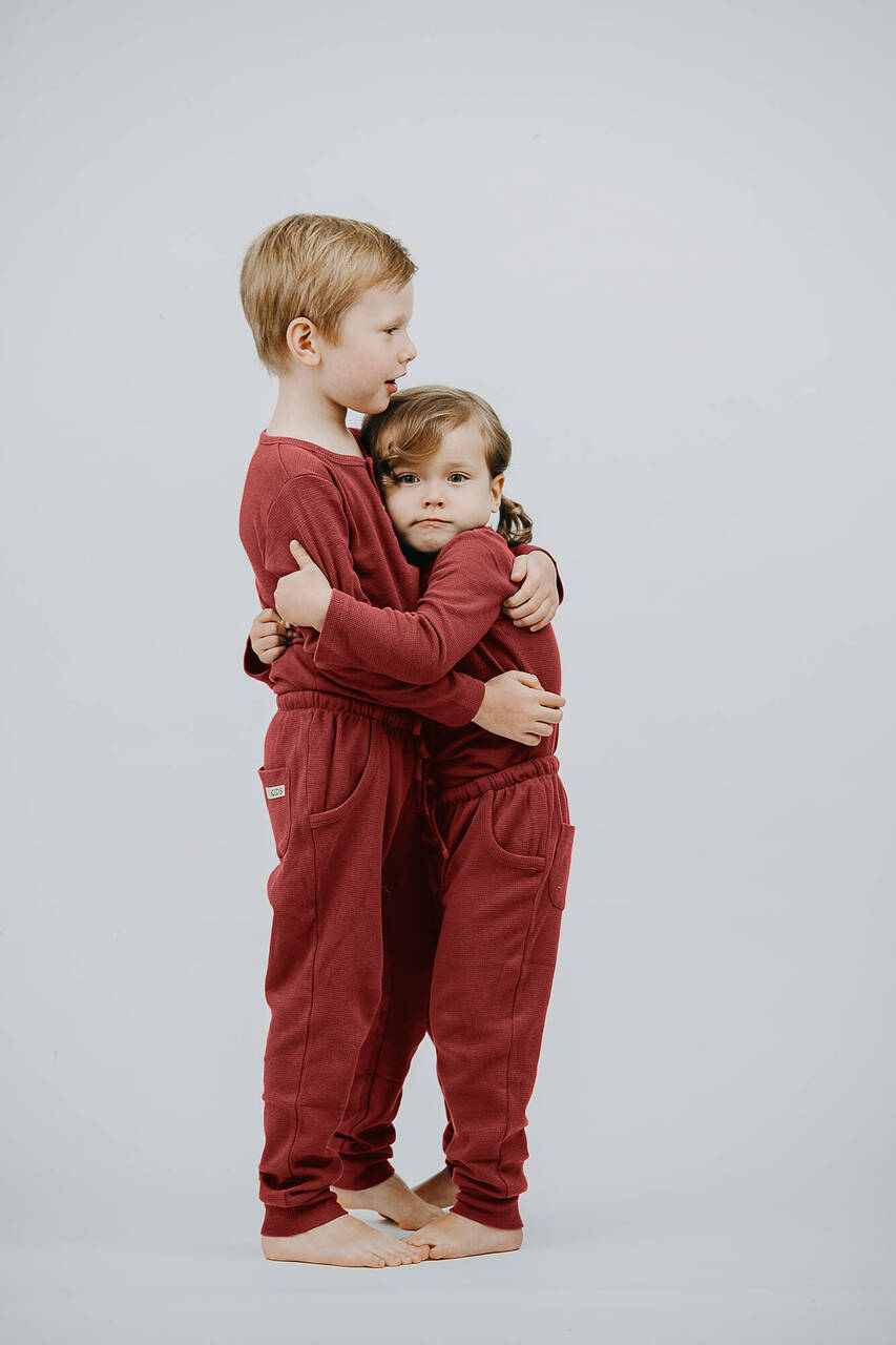 Organic Thermal Kids' Jogger Pants in Brick, Lifestyle