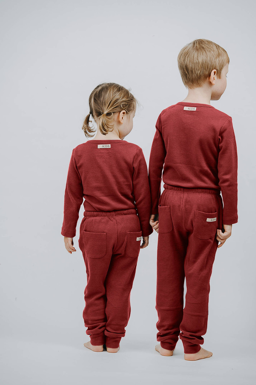 Organic Thermal Kids' Jogger Pants in Brick