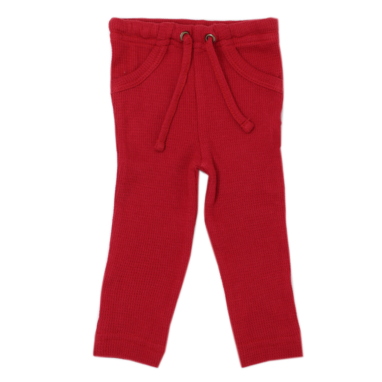 Organic Thermal Drawstring Fitted Pants in Cherry, Flat