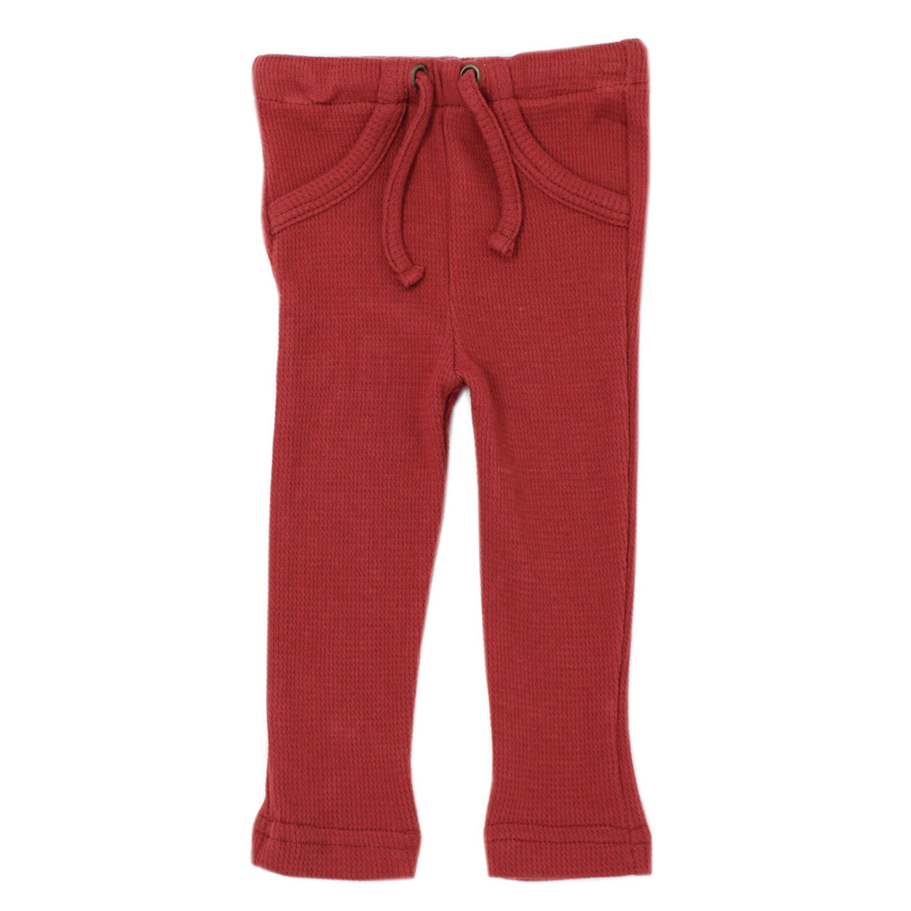 Organic Thermal Drawstring Fitted Pants in Brick, Flat