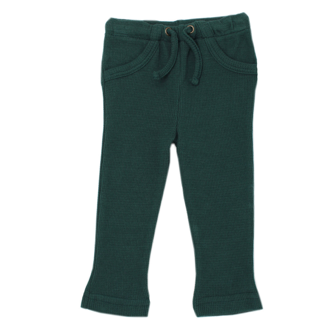 Organic Thermal Drawstring Fitted Pants in Pine, Flat