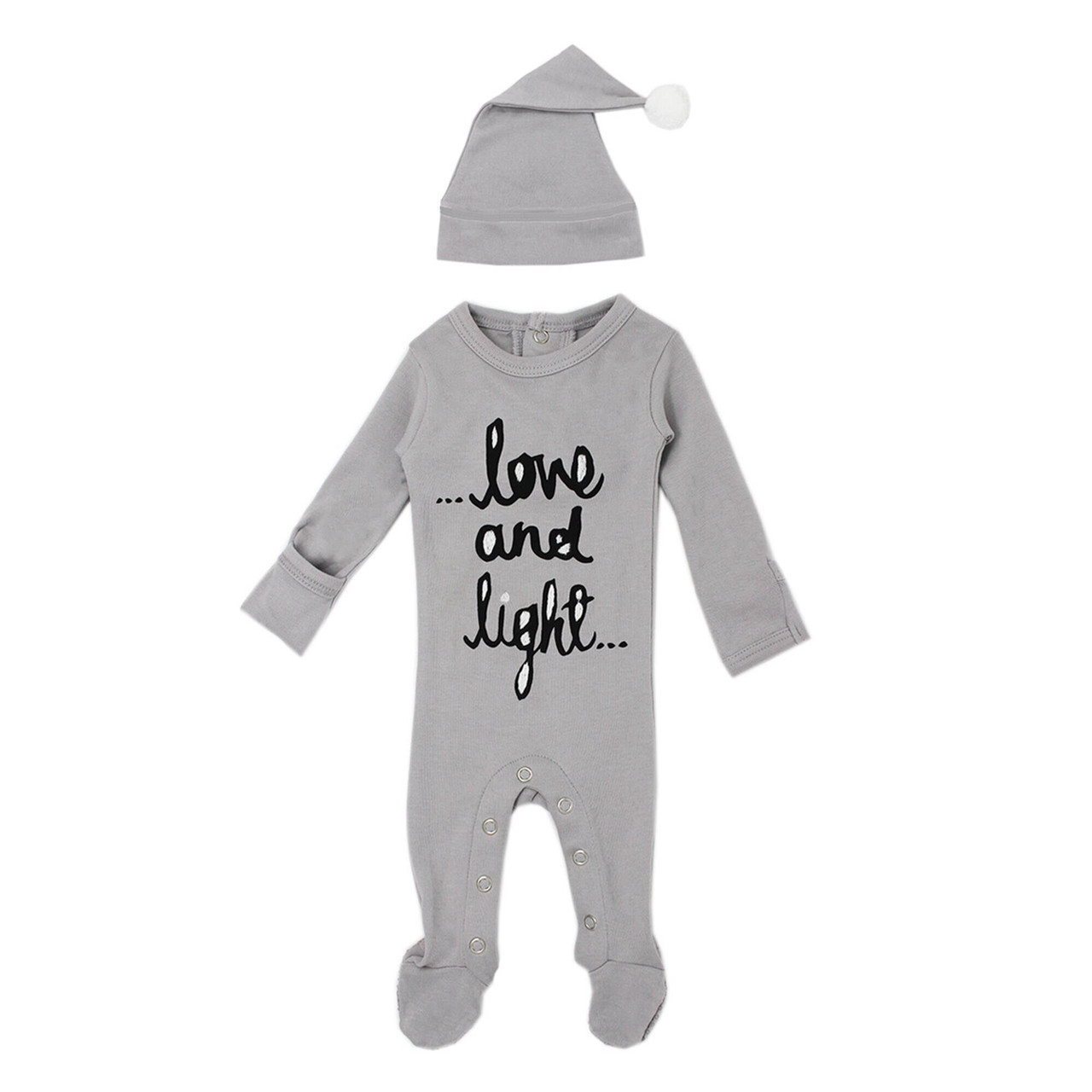 Organic Overall & Cap Set in Gray Love and Light, Flat