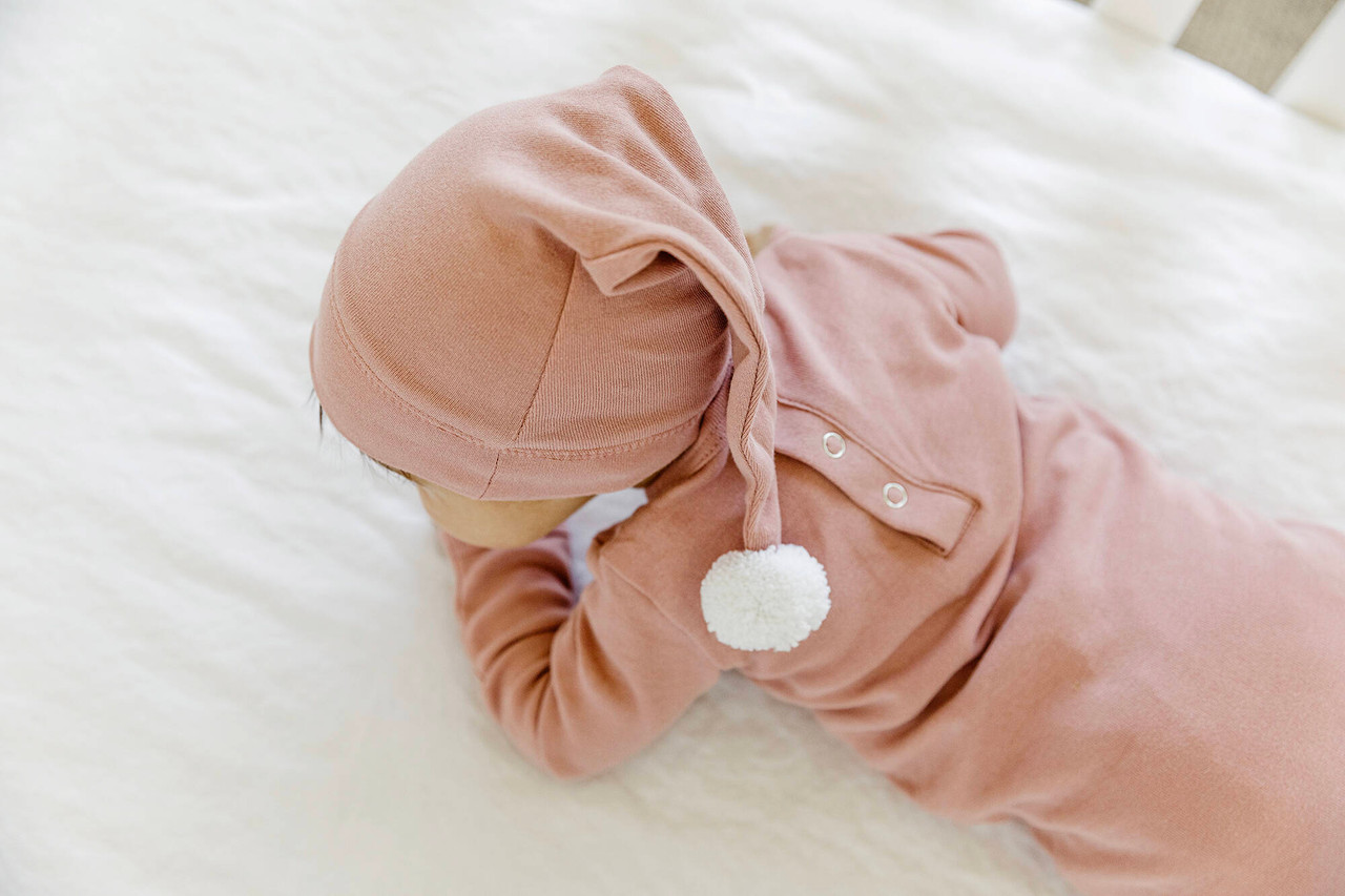 Organic Overall & Cap Set in Mauve Love and Light, Lifestyle