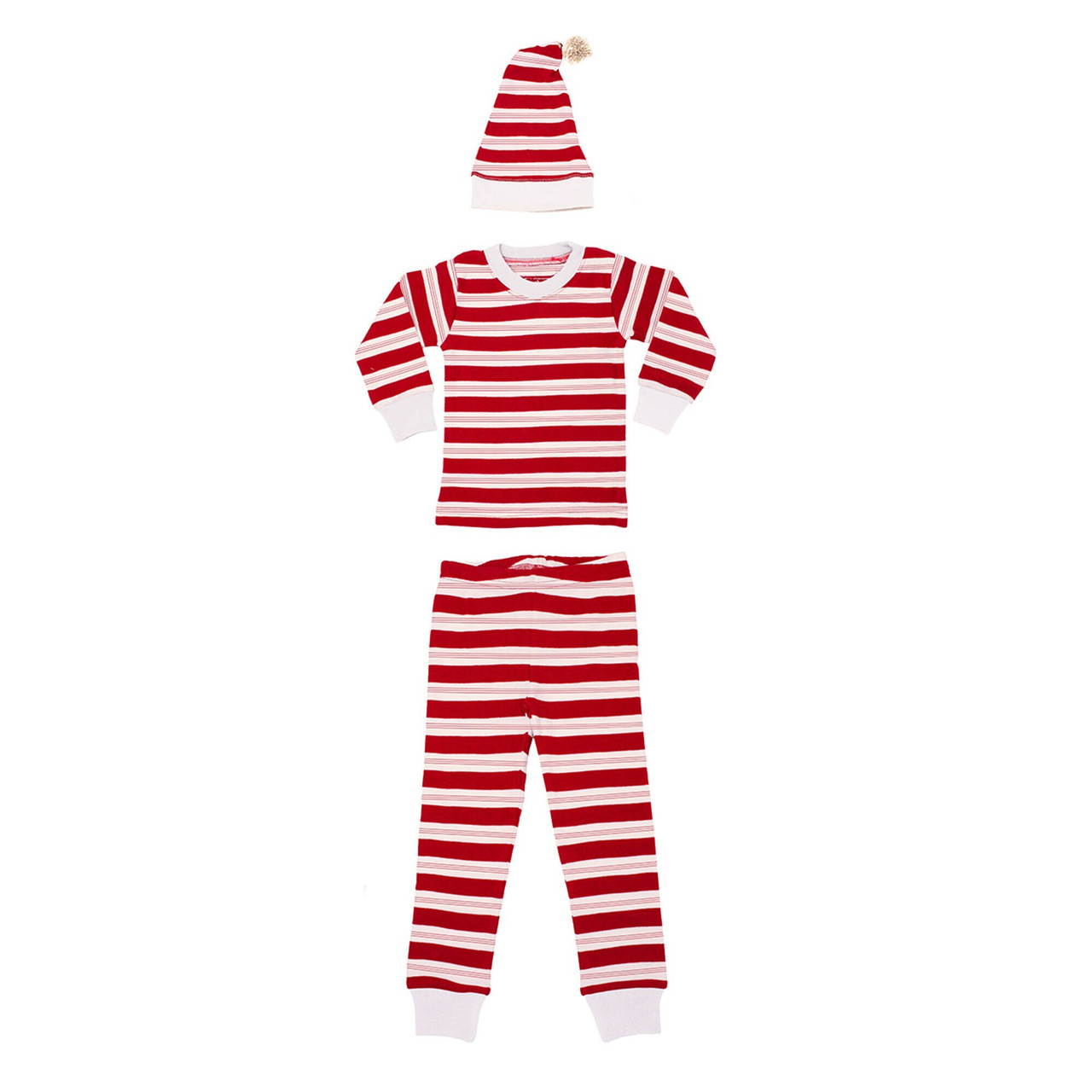 Organic Kids' L/Sleeve PJ & Cap Set in Peppermint Stripe, Flat