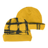 Reversible Beanie in Citrine Plaid, Flat