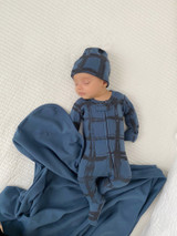 Organic Zipper Baby Footie, Print in Abyss Plaid, Lifestyle