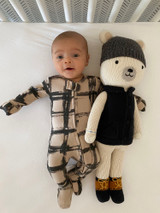 Organic Zipper Baby Footie, Print in Oatmeal Plaid, Lifestyle