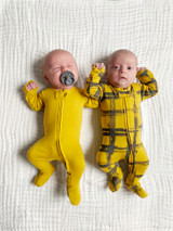 Organic Zipper Baby Footie, Print in Citrine Plaid, Lifestyle