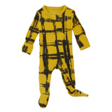 Organic Zipper Baby Footie, Print in Citrine Plaid, Flat