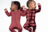 Organic Zipper Baby Footie, Print in Appleberry Plaid, Lifestyle