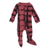 Organic Zipper Baby Footie, Print in Appleberry Plaid, Flat