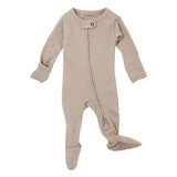 Organic Zipper Baby Footie in Oatmeal