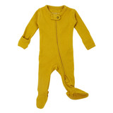 Organic Zipper Baby Footie in Citrine, Flat