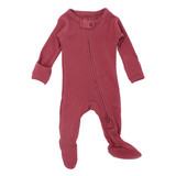 Organic Zipper Baby Footie in Appleberry, Flat