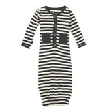 Organic Gown in Gray Stripe, Flat