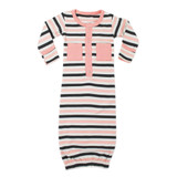 Organic Gown in Coral Stripe, Flat