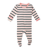Organic Jumpsuit in Coral Stripe, Flat