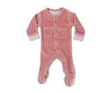 Organic Velour Footed Overall in Mauve, Flat