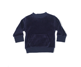 Organic Velour Sweatshirt in Navy, Flat