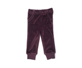 Organic Velour Joggers in Eggplant, Flat
