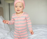 Organic Footed Overall in Coral/Light Gray Stripe, Lifestyle
