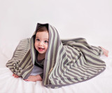 Organic Swaddling Blanket in Gray/Seafoam Stripe, Lifestyle