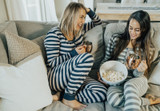 Organic Women's Onesie in Navy/Light Gray Stripe