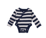 Organic Kimono Bodysuit in Navy/Light Gray Stripe, Flat