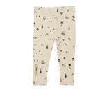 Organic Leggings in Beige Itty Bitty City, Flat