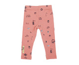 Organic Leggings in Coral Itty Bitty City, Flat