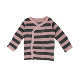 Organic Wrap Shirt in Mauve/Gray Stripe, Flat