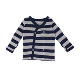 Organic Wrap Shirt in Navy/Light Gray Stripe, Flat