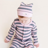 Organic Banded Top-Knot Hat in Mauve/Gray Stripe, Lifestyle