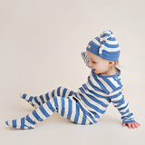 Organic Banded Top-Knot Hat in Slate/Beige Stripe, Lifestyle