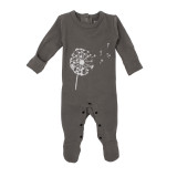 Organic Graphic Footie in Gray Dandelion, Flat