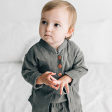 Organic Muslin Three-Quarter Sleeve Jacket in Gray, Lifestyle