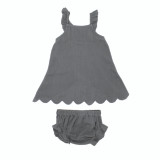 Organic Muslin Tunic Top & Bloomer Bottom Set in Gray, Flat