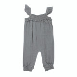 Organic Muslin Sleeveless Romper in Gray, Flat