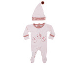 Organic Overall & Cap Set in Mauve Little Miracle, Flat