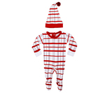 Organic Overall & Cap Set in Christmas Morning Plaid, Flat