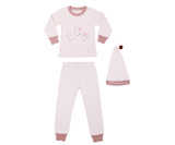 Organic Kids' L/Sleeve PJ & Cap Set in Mauve Little Miracle, Flat