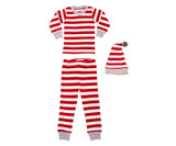 Organic Kids' L/Sleeve PJ & Cap Set in Candy Cane Stripe, Flat