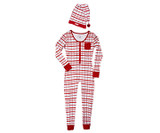 Organic Women's Onesie & Cap Set in Christmas Morning Plaid, Flat