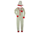 Organic Women's Onesie & Cap Set in Elf Stripe, Flat