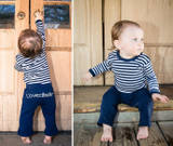 Organic Lovedbaby Signature Pants in Navy, Flat