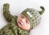Organic Top-Knot Hat in Sage Letters, Lifestyle