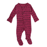 Organic Jumpsuit in Magenta Letters, Flat