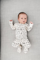 Organic Jumpsuit in Beige Letters, Lifestyle
