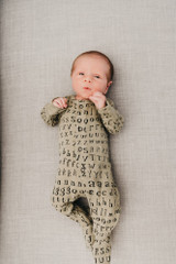 Organic Footed Overall in Sage Letters, Lifestyle